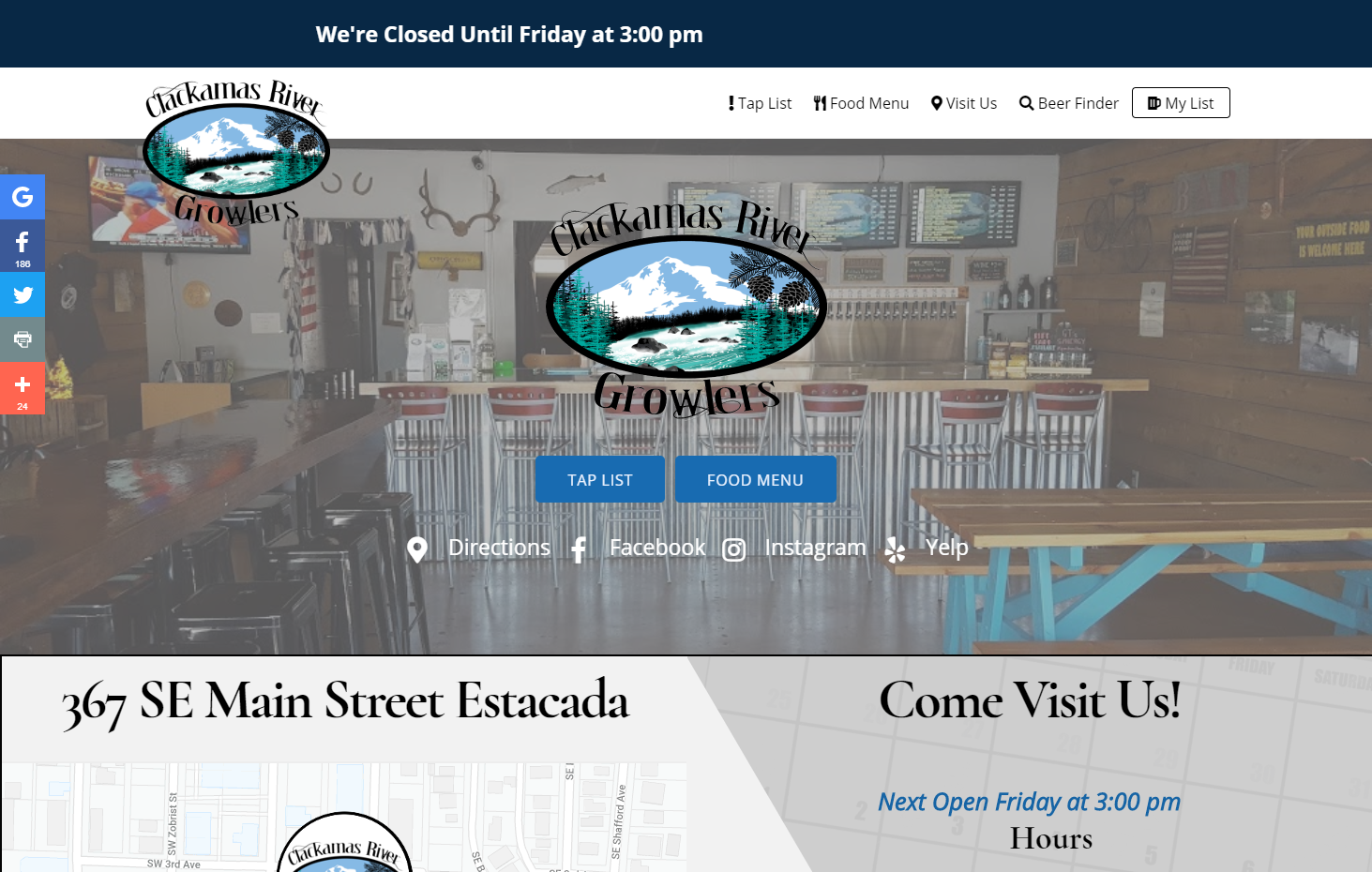 Clackamas River Growlers - 32 beer cider choices on tap in Estacada